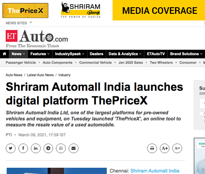 ThePriceX in Economic Times Auto News